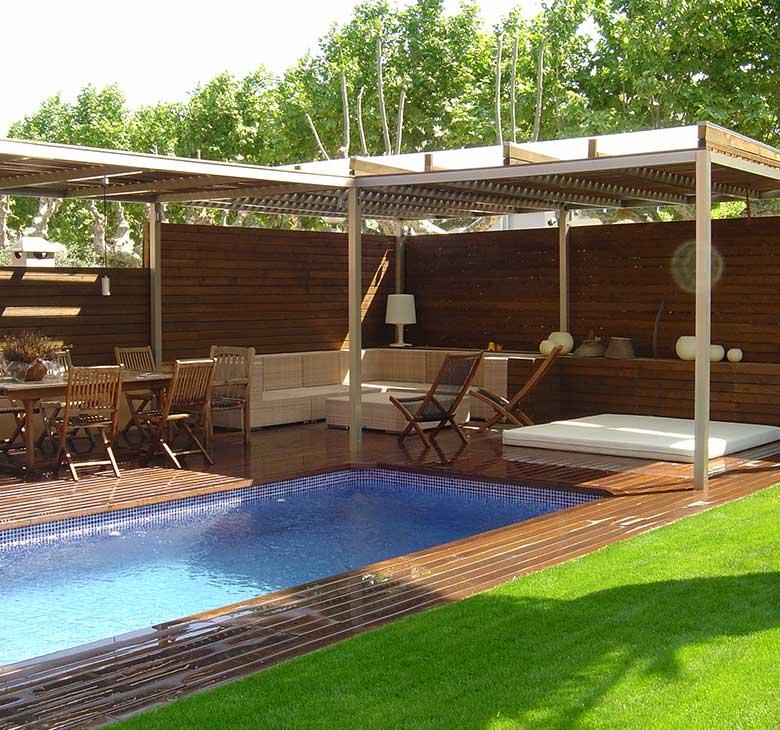 diseño de jardines tarimas duchas